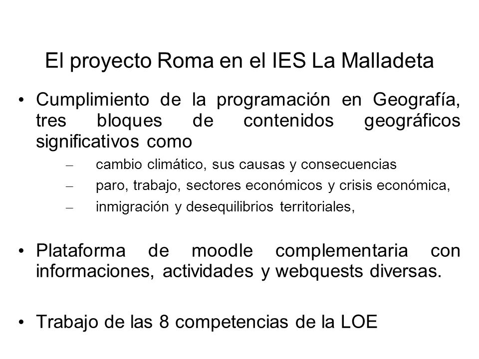 El proyecto Roma en el IES La Malladeta