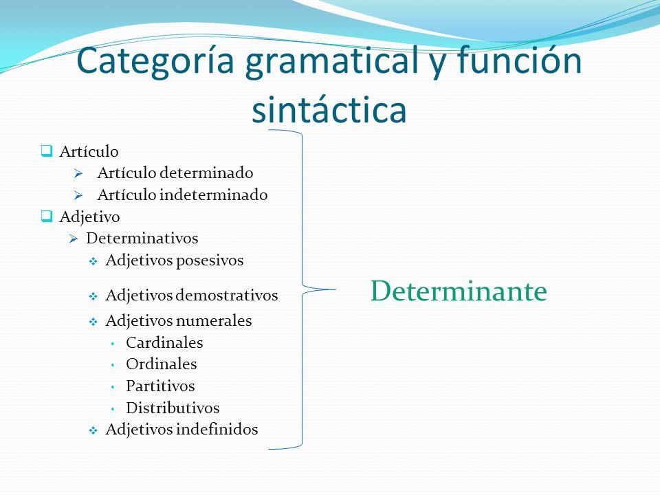 Categoría gramatical y función sintáctica