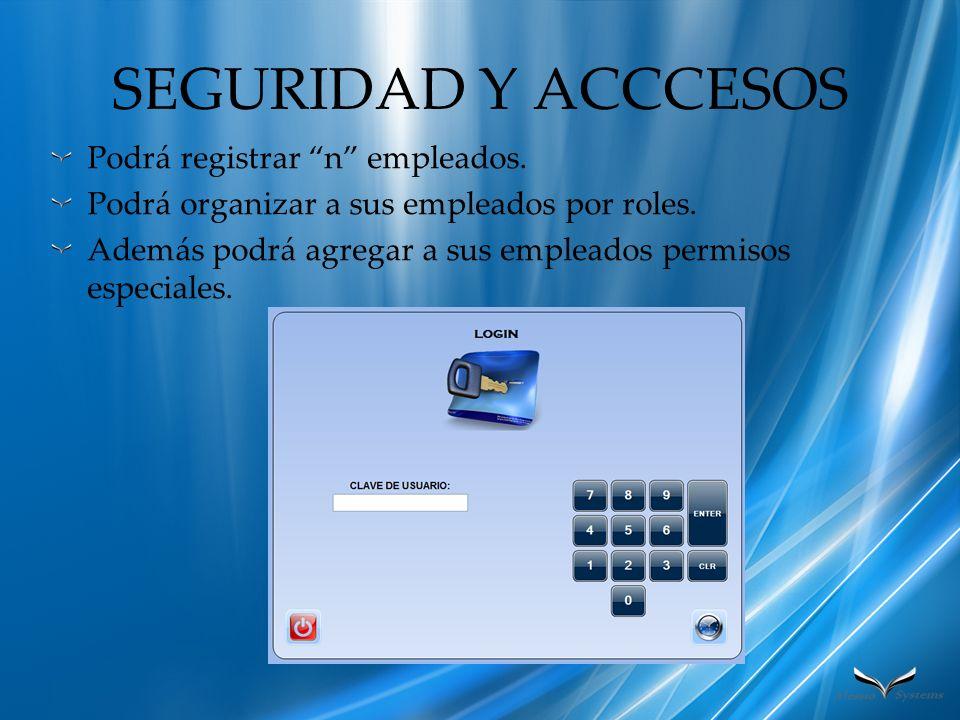 SEGURIDAD Y ACCCESOS Podrá registrar n empleados.