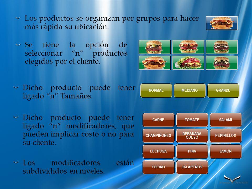 Los productos se organizan por grupos para hacer más rápida su ubicación.