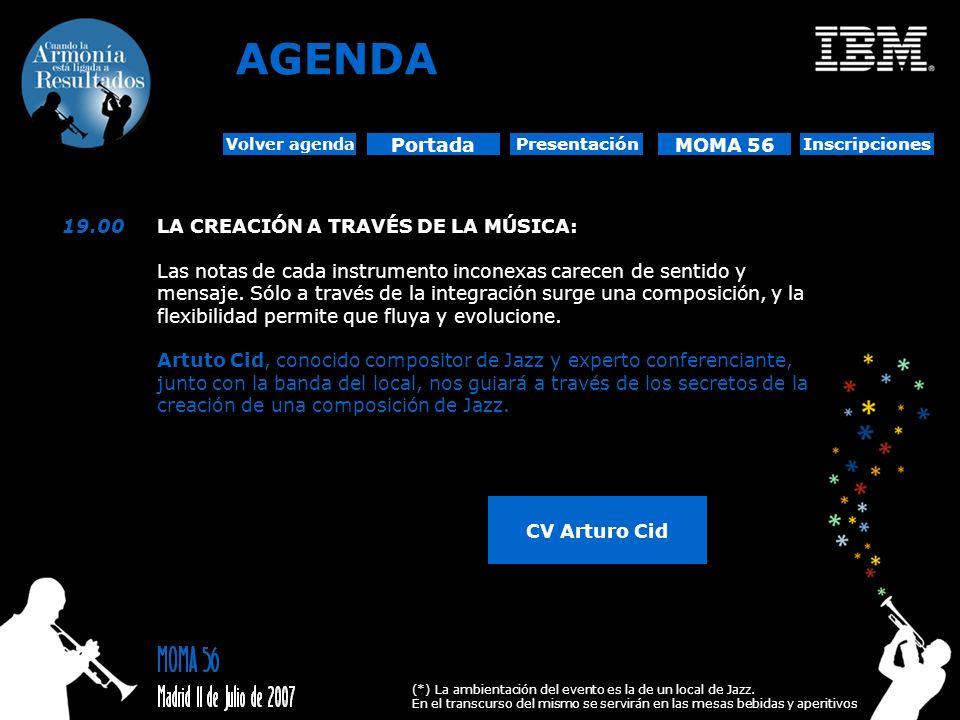 AGENDA Portada MOMA 56 19.00 LA CREACIÓN A TRAVÉS DE LA MÚSICA: