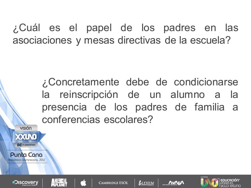 ¿Cuál es el papel de los padres en las asociaciones y mesas directivas de la escuela