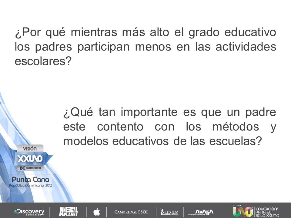 ¿Por qué mientras más alto el grado educativo los padres participan menos en las actividades escolares