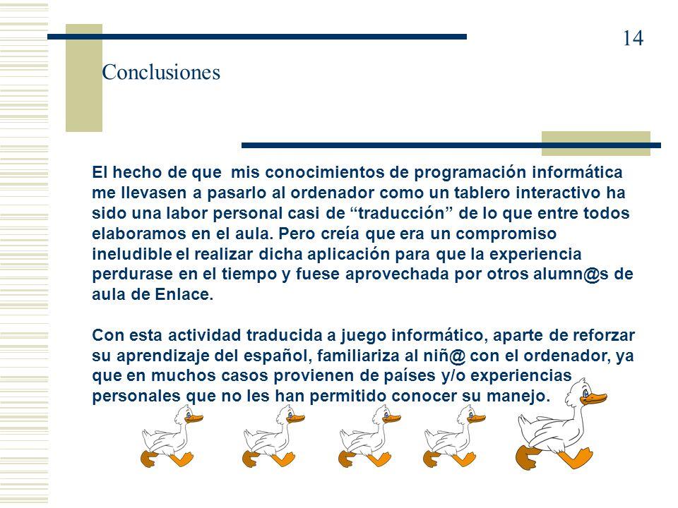 14 Conclusiones.