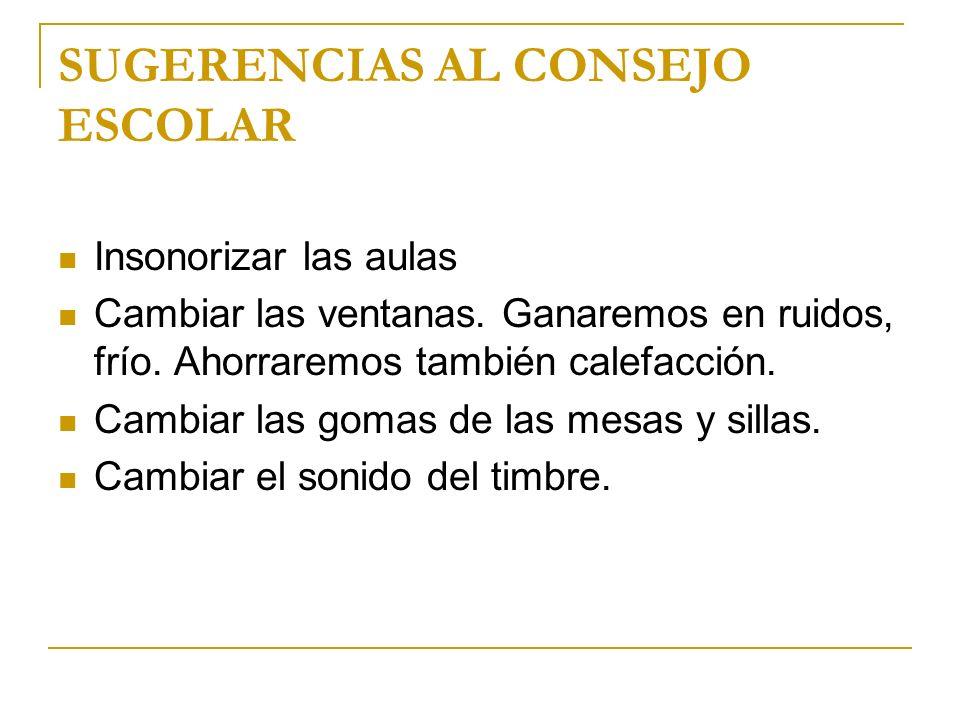 SUGERENCIAS AL CONSEJO ESCOLAR