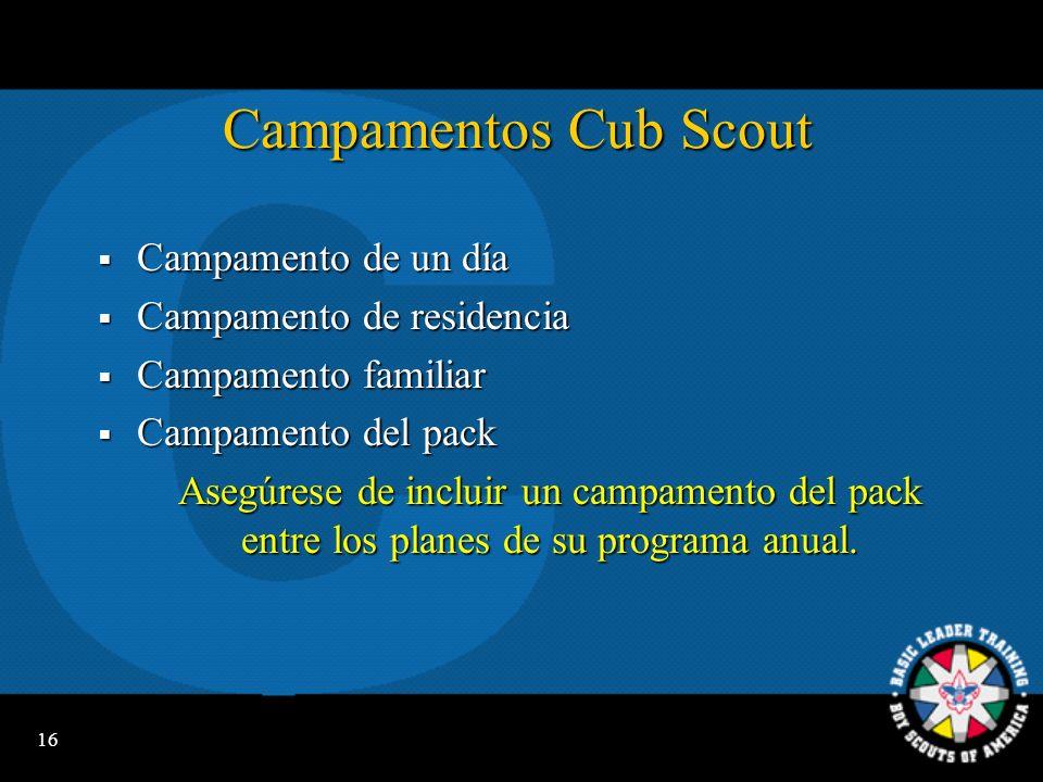 Campamentos Cub Scout Campamento de un día Campamento de residencia