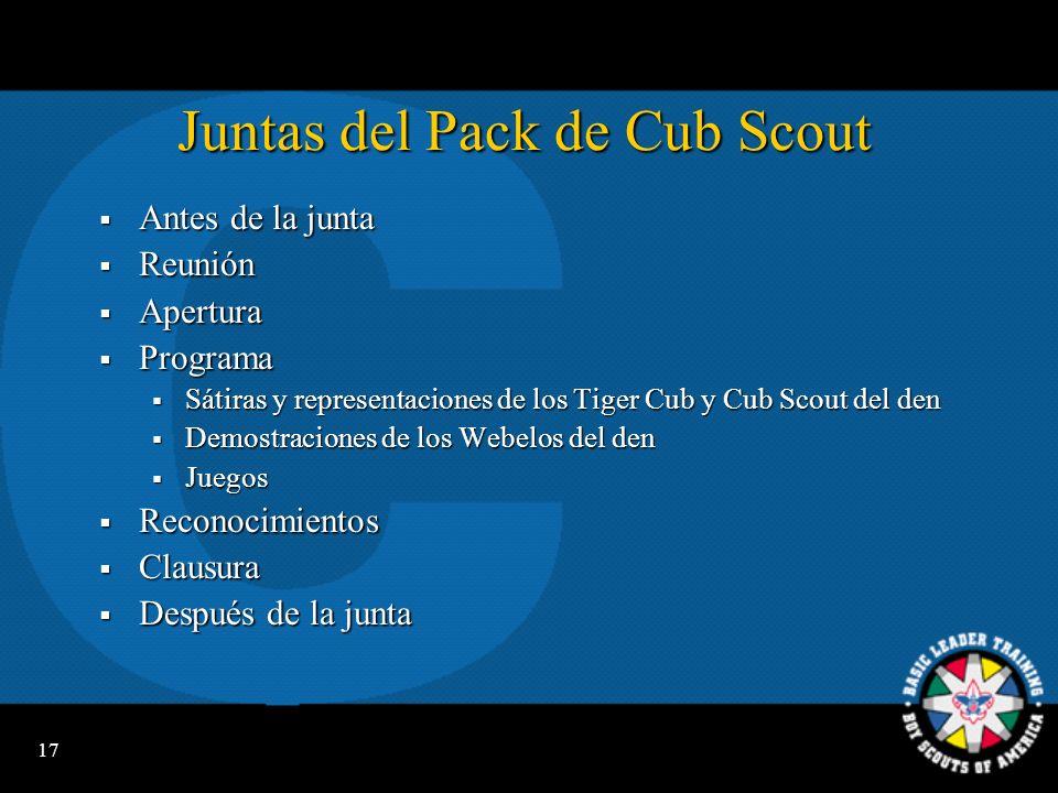 Juntas del Pack de Cub Scout