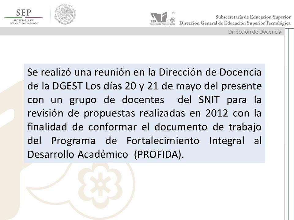 Se realizó una reunión en la Dirección de Docencia de la DGEST Los días 20 y 21 de mayo del presente con un grupo de docentes del SNIT para la revisión de propuestas realizadas en 2012 con la finalidad de conformar el documento de trabajo del Programa de Fortalecimiento Integral al Desarrollo Académico (PROFIDA).