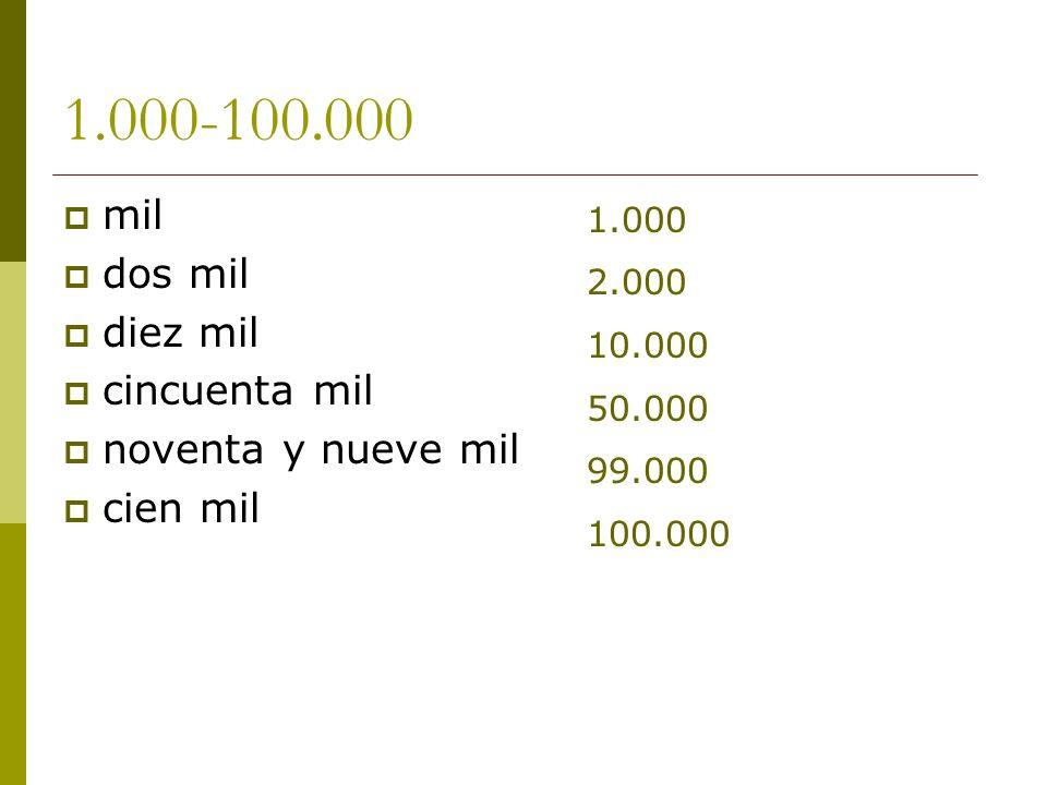 1.000-100.000 mil dos mil diez mil cincuenta mil noventa y nueve mil