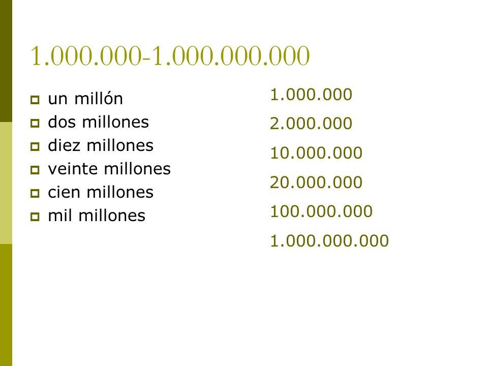 1.000.000-1.000.000.000 1.000.000 un millón 2.000.000 dos millones