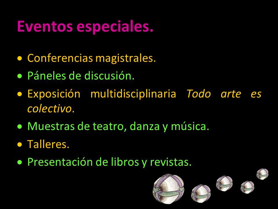 Eventos especiales. Conferencias magistrales. Páneles de discusión.