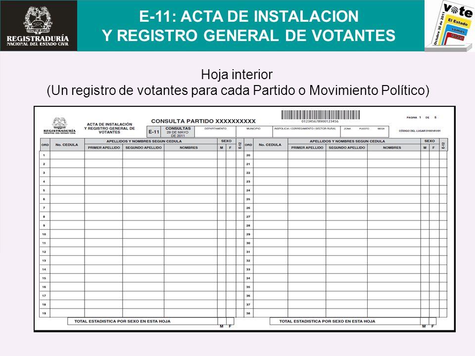 E-11: ACTA DE INSTALACION Y REGISTRO GENERAL DE VOTANTES