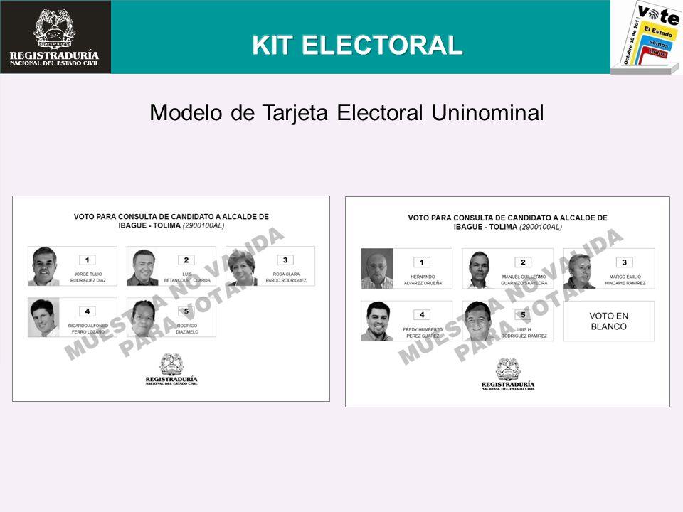 KIT ELECTORAL Modelo de Tarjeta Electoral Uninominal