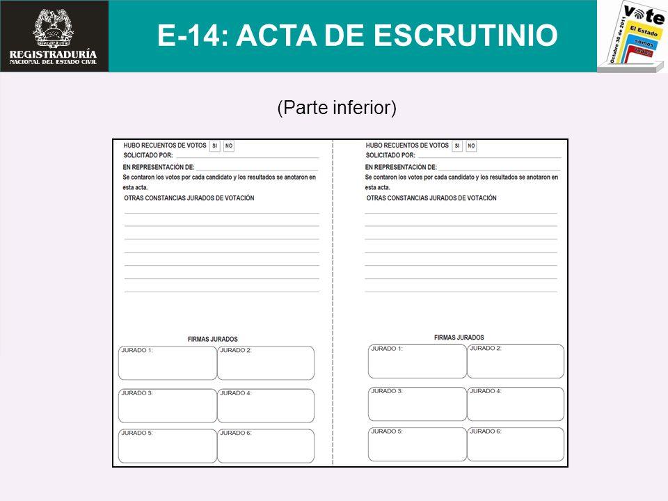 E-14: ACTA DE ESCRUTINIO (Parte inferior)