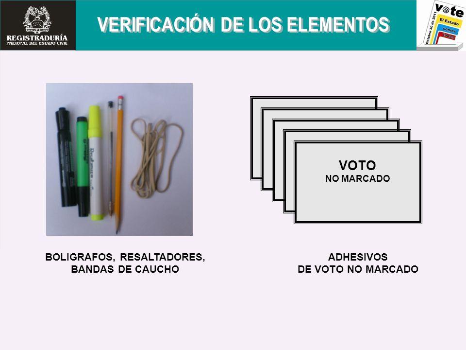 VERIFICACIÓN DE LOS ELEMENTOS BOLIGRAFOS, RESALTADORES,