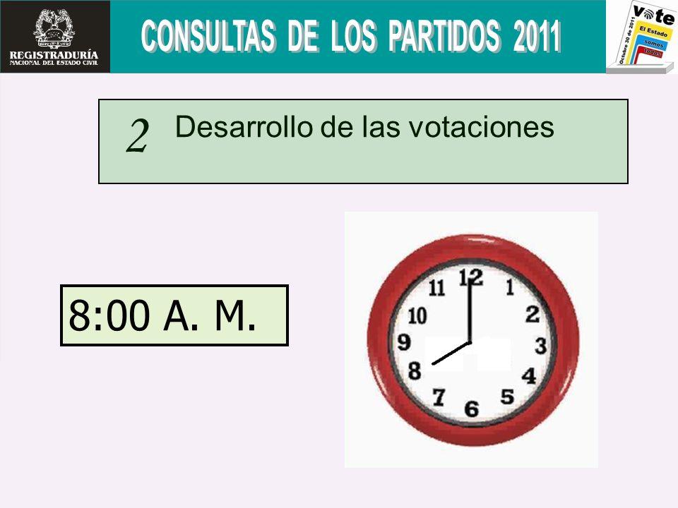 2 8:00 A. M. Desarrollo de las votaciones
