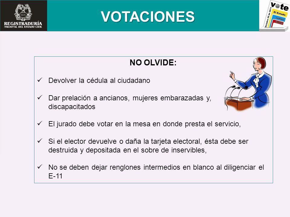 VOTACIONES NO OLVIDE: Devolver la cédula al ciudadano