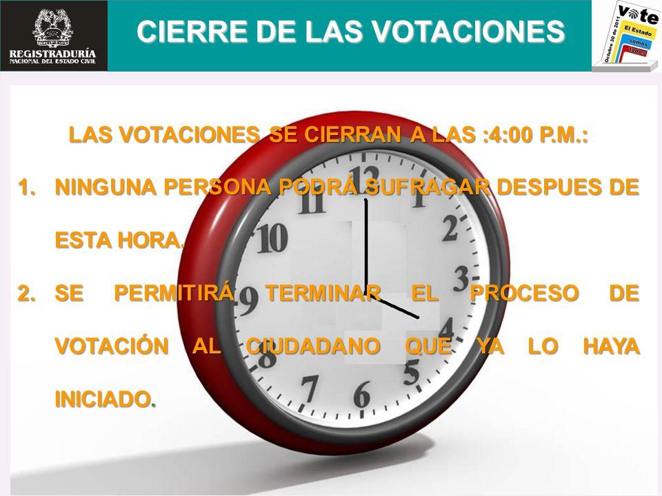 LAS VOTACIONES SE CIERRAN A LAS :4:00 P.M.: