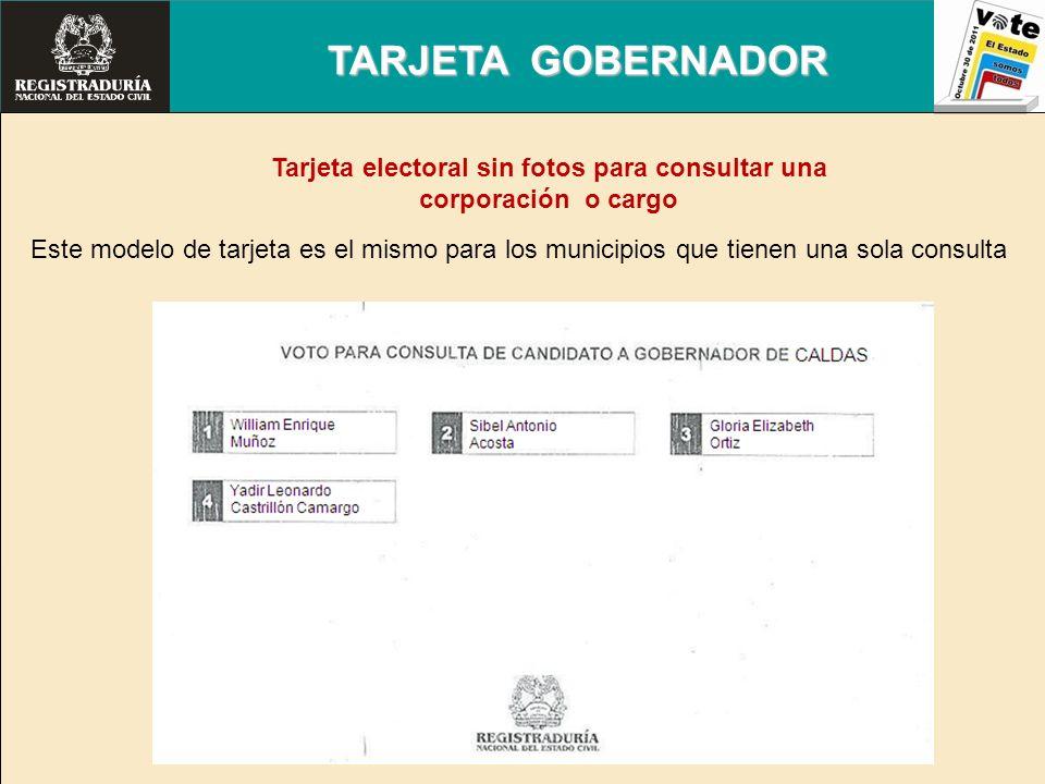 Tarjeta electoral sin fotos para consultar una corporación o cargo