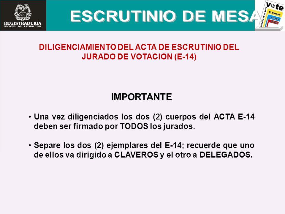DILIGENCIAMIENTO DEL ACTA DE ESCRUTINIO DEL JURADO DE VOTACION (E-14)