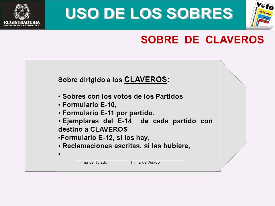 USO DE LOS SOBRES SOBRE DE CLAVEROS
