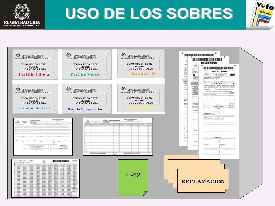 USO DE LOS SOBRES RECLAMACIÓN E-12