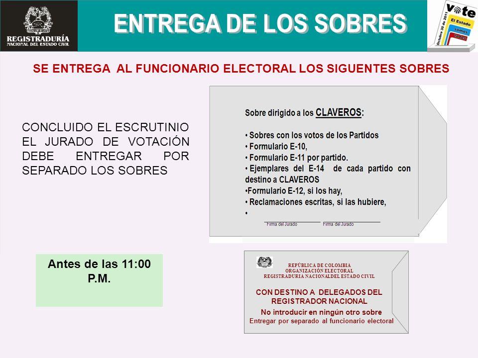 ENTREGA DE LOS SOBRES SE ENTREGA AL FUNCIONARIO ELECTORAL LOS SIGUENTES SOBRES.