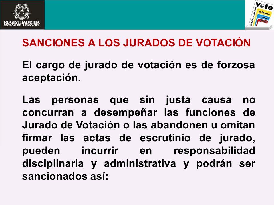 SANCIONES A LOS JURADOS DE VOTACIÓN