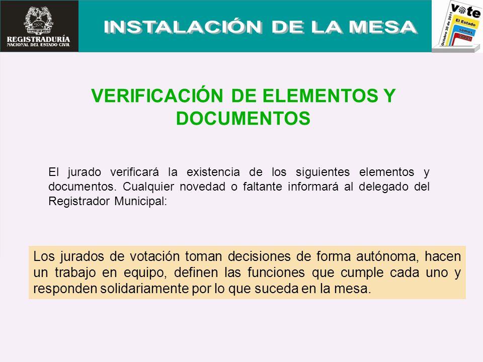 VERIFICACIÓN DE ELEMENTOS Y DOCUMENTOS