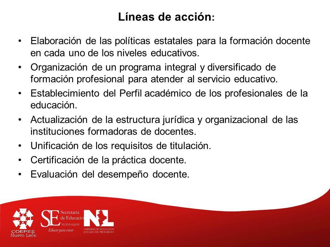 Líneas de acción: Elaboración de las políticas estatales para la formación docente en cada uno de los niveles educativos.