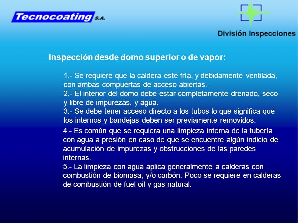Inspección desde domo superior o de vapor: