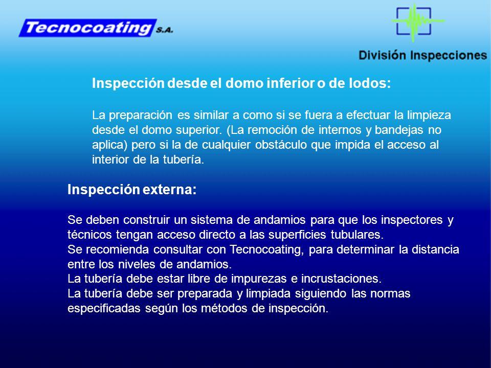 Inspección desde el domo inferior o de lodos: