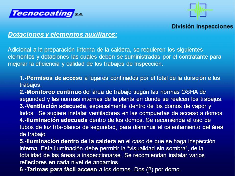 Dotaciones y elementos auxiliares:
