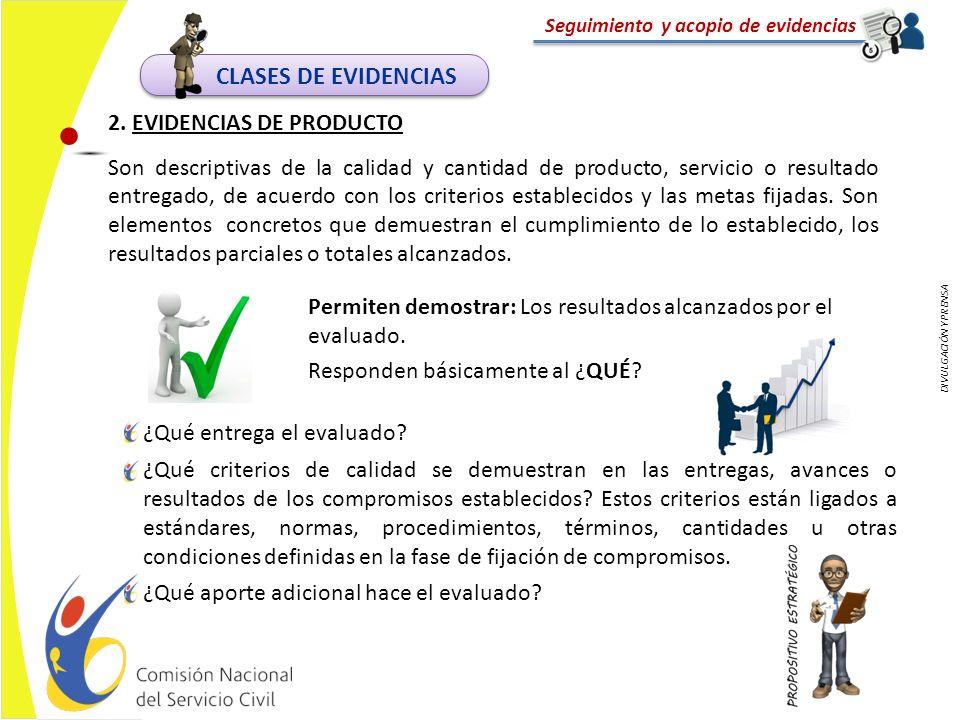 CLASES DE EVIDENCIAS 2. EVIDENCIAS DE PRODUCTO