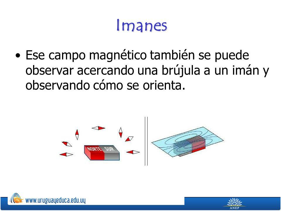 Imanes Ese campo magnético también se puede observar acercando una brújula a un imán y observando cómo se orienta.