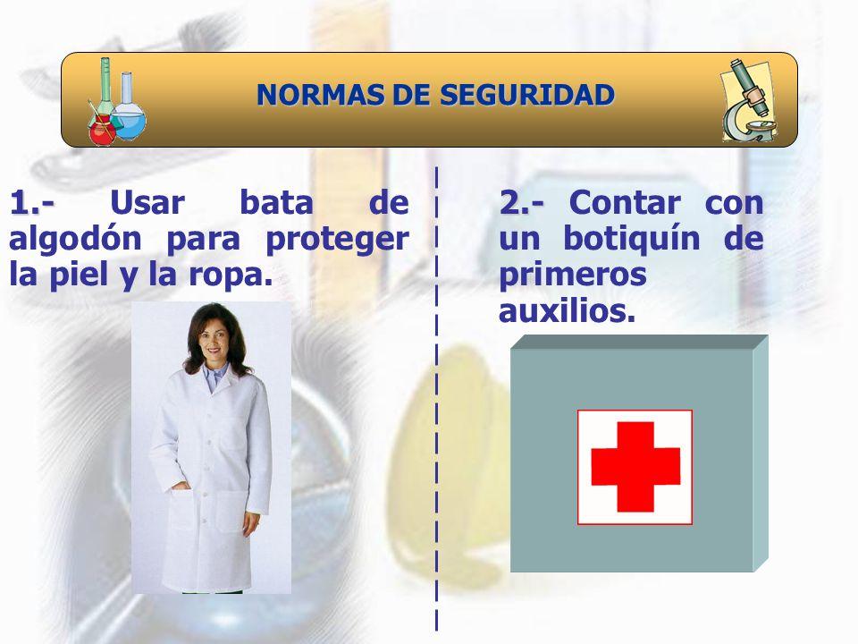 1.- Usar bata de algodón para proteger la piel y la ropa.