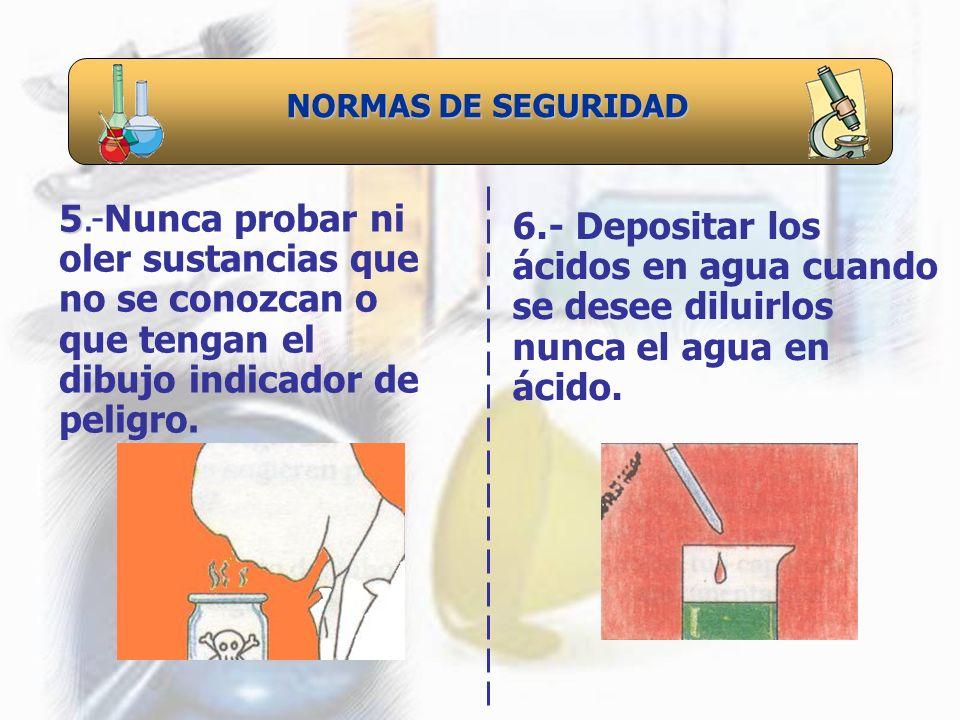NORMAS DE SEGURIDAD 5.-Nunca probar ni oler sustancias que no se conozcan o que tengan el dibujo indicador de peligro.