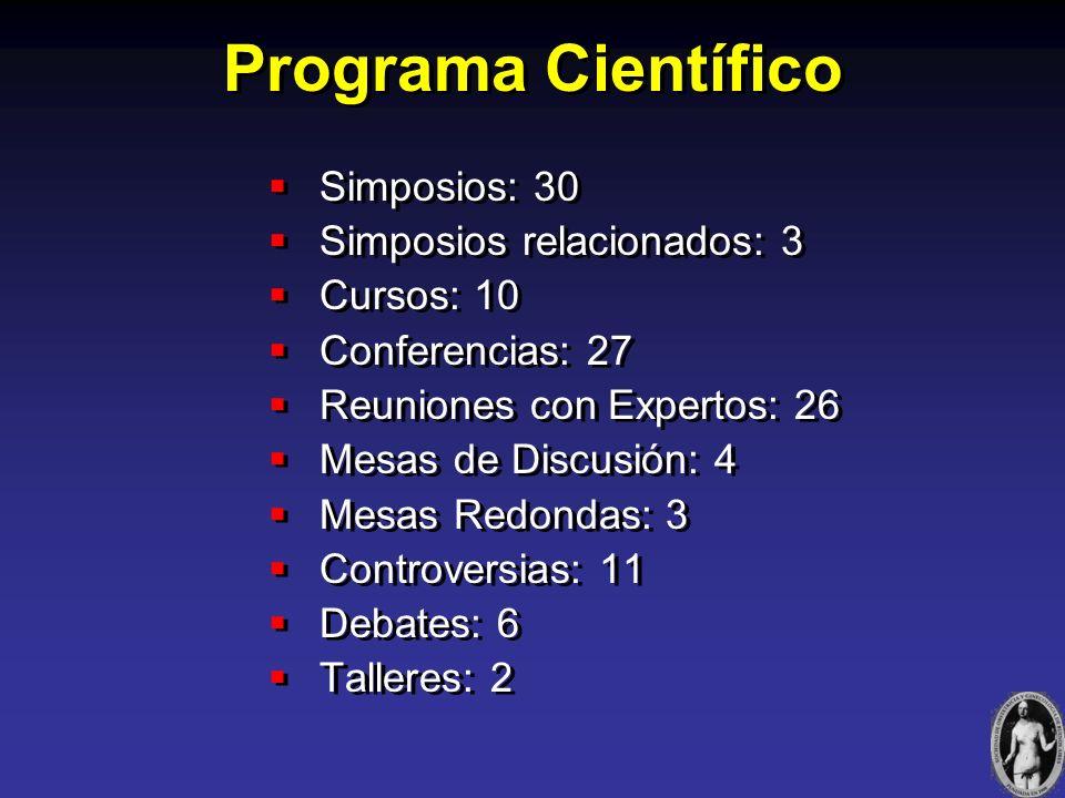 Programa Científico Simposios: 30 Simposios relacionados: 3 Cursos: 10