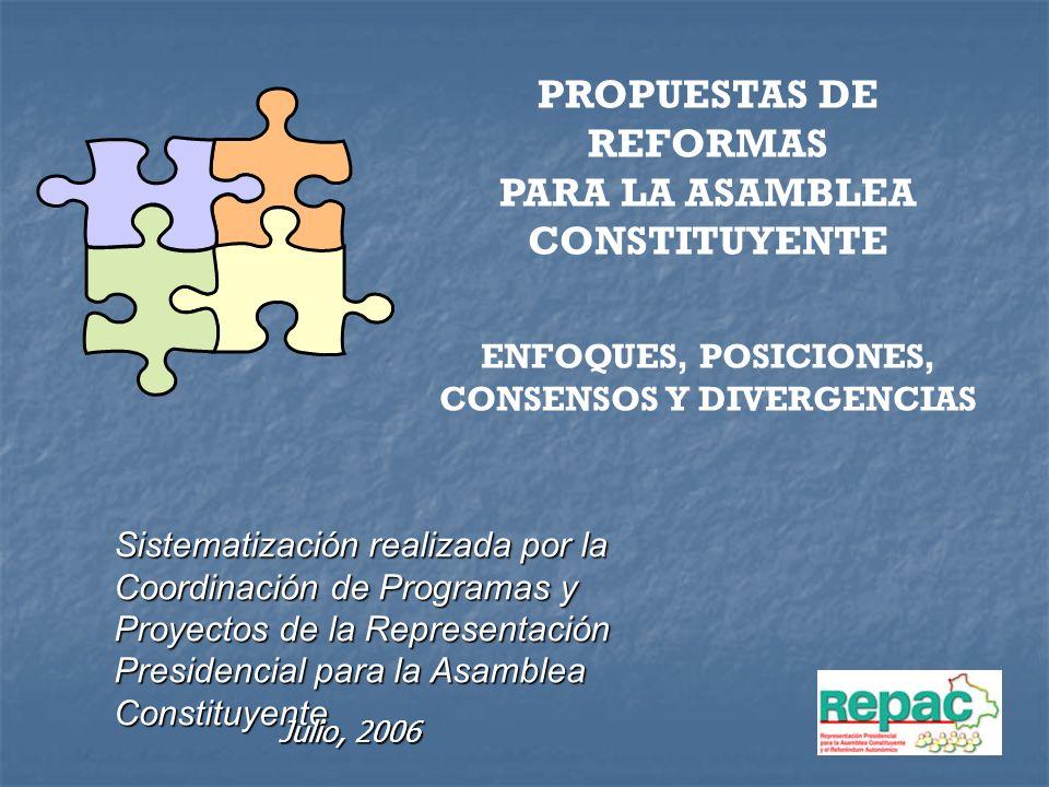 PROPUESTAS DE REFORMAS PARA LA ASAMBLEA CONSTITUYENTE