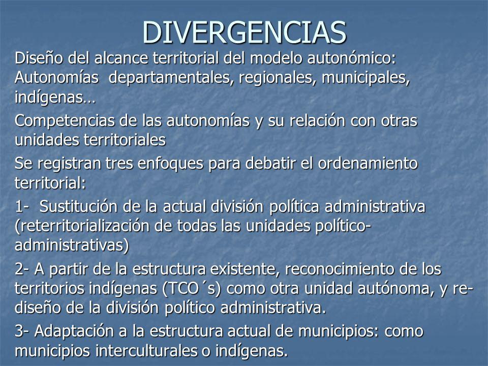 DIVERGENCIAS Diseño del alcance territorial del modelo autonómico: Autonomías departamentales, regionales, municipales, indígenas…
