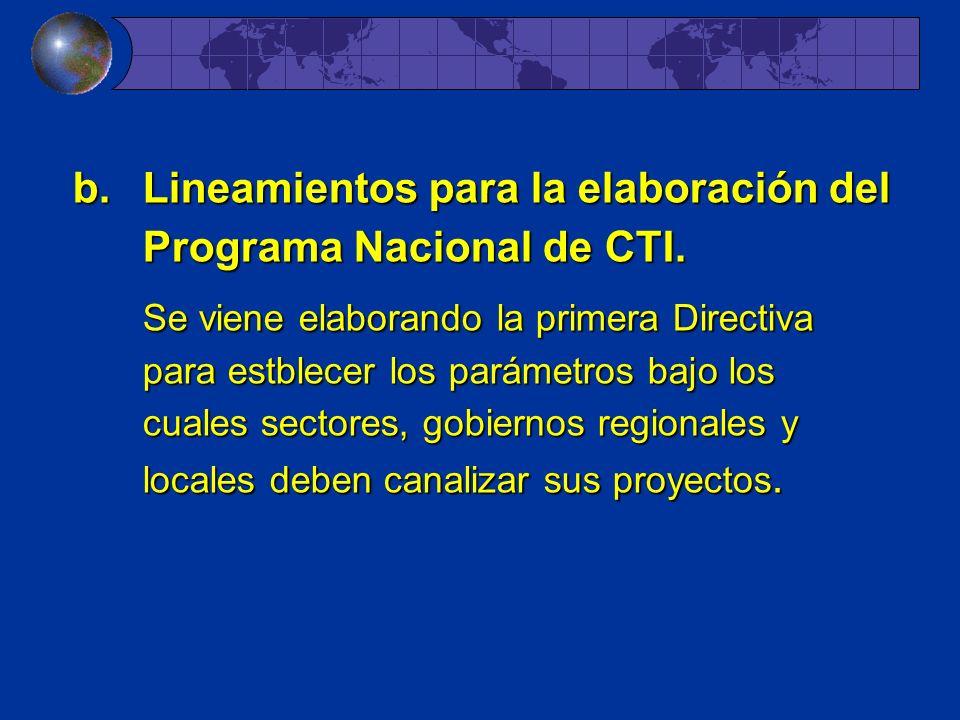 Lineamientos para la elaboración del Programa Nacional de CTI.