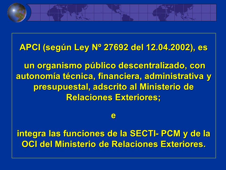 APCI (según Ley Nº 27692 del 12.04.2002), es