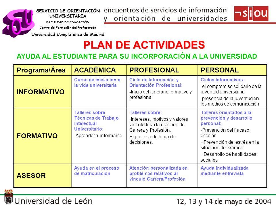 s U O PLAN DE ACTIVIDADES