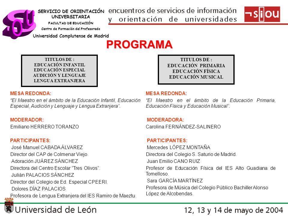 s U O PROGRAMA TITULOS DE : EDUCACIÓN PRIMARIA EDUCACIÓN FÍSICA