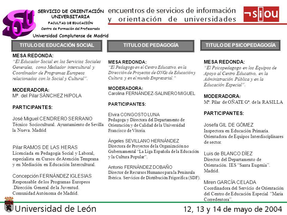s U O TITULO DE EDUCACIÓN SOCIAL TITULO DE PEDAGOGÍA