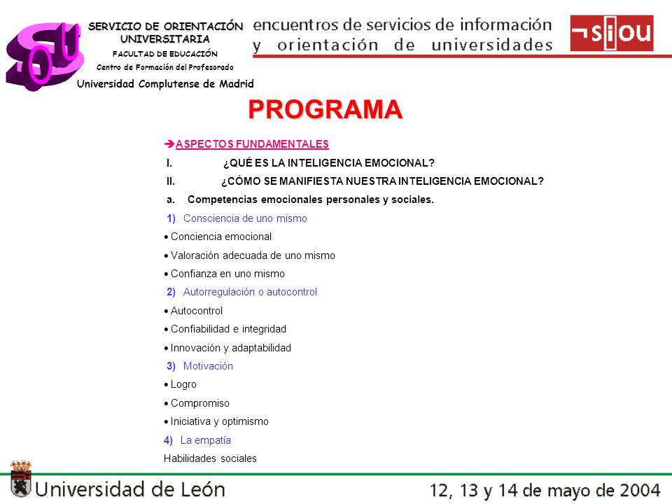 s U O PROGRAMA SERVICIO DE ORIENTACIÓN UNIVERSITARIA