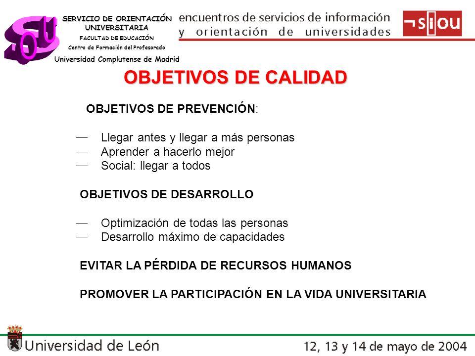 s U O OBJETIVOS DE CALIDAD  OBJETIVOS DE PREVENCIÓN: