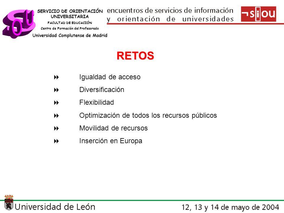 s U O RETOS 8 Igualdad de acceso 8 Diversificación 8 Flexibilidad