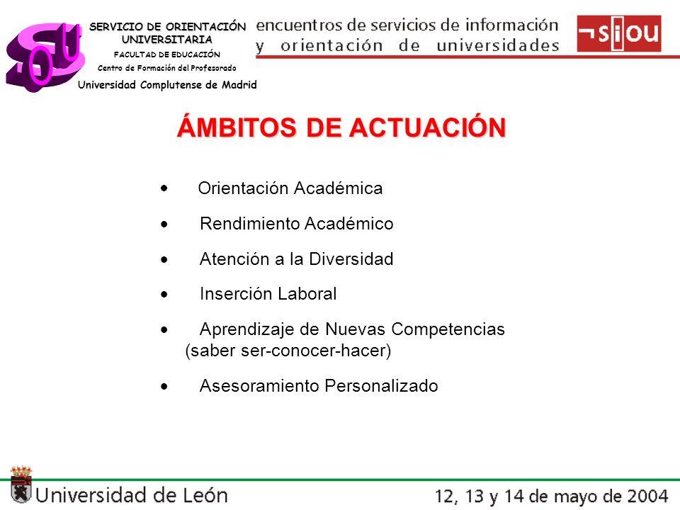 s U O ÁMBITOS DE ACTUACIÓN · Rendimiento Académico