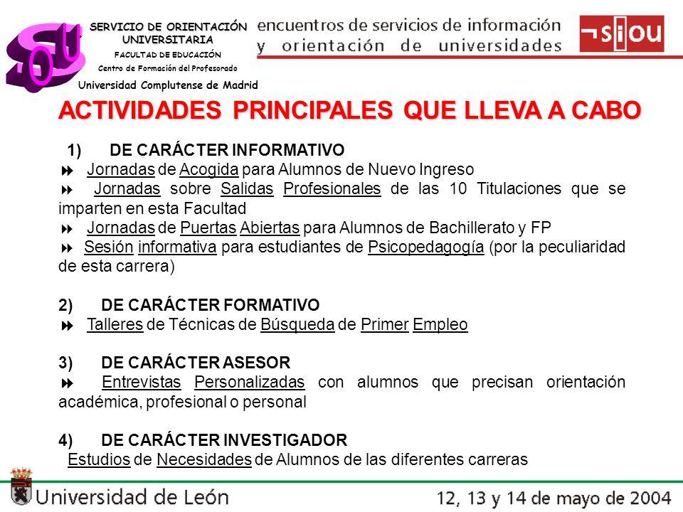 s U O ACTIVIDADES PRINCIPALES QUE LLEVA A CABO